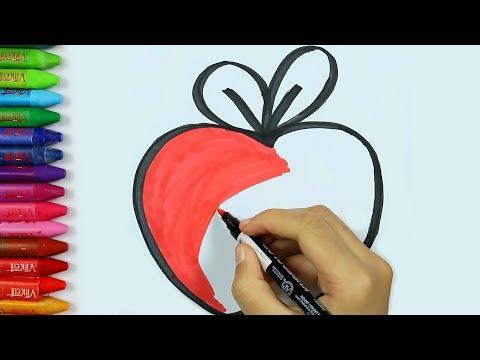 Come disegnare Mela | Pagine di colorazione Mela Pittura di Mela | Impara la colorazione