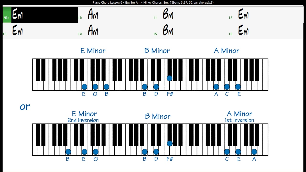 Piano Chord Lesson Excercise 15 Em Bm Am Minor Chords   YouTube
