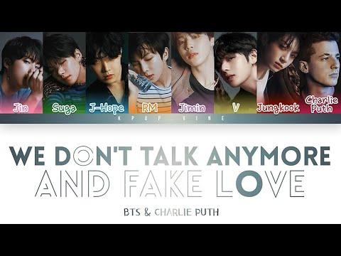 BTS & Charlie Puth   We Don't Talk Anymore & Fake Love   Lyrics