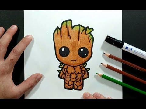 Como Dibujar A Groot Paso A Paso 2 - Los Guardianes De La Galaxia | How To Draw Groot 2