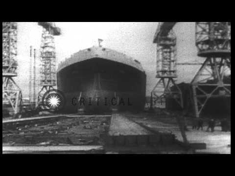 """Largest Tanker ship ,""""Myrina"""" being launched at Harland  and  Wolff shipyard in B...HD Stock Footage"""