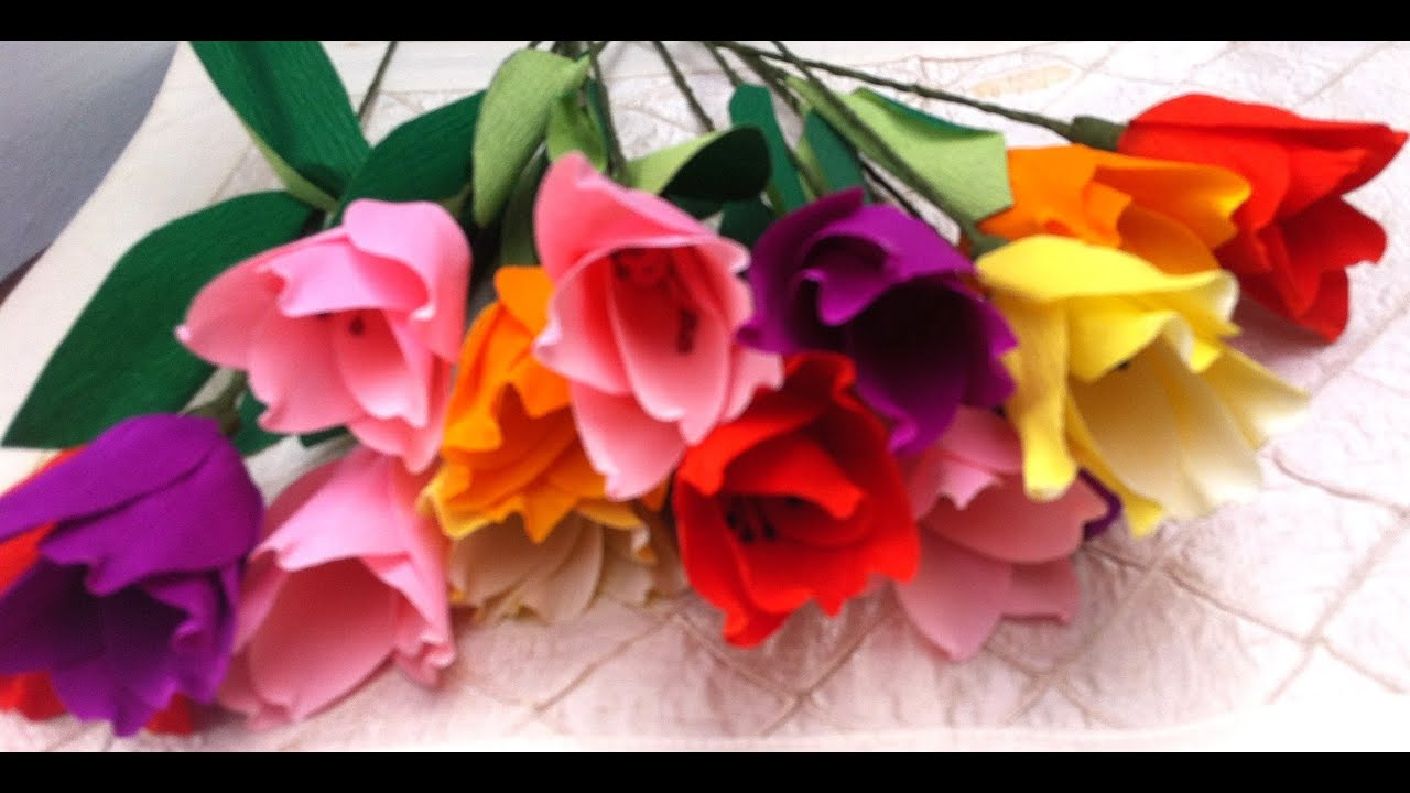 How to make paper flowers tulips flower 6 youtube how to make paper flowers tulips flower 6 dhlflorist Image collections