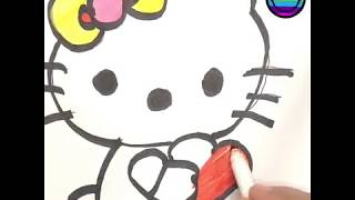 Hello Kitty with Hearts Drawing coloring painting for Kids toddlers preschoolers to fun music