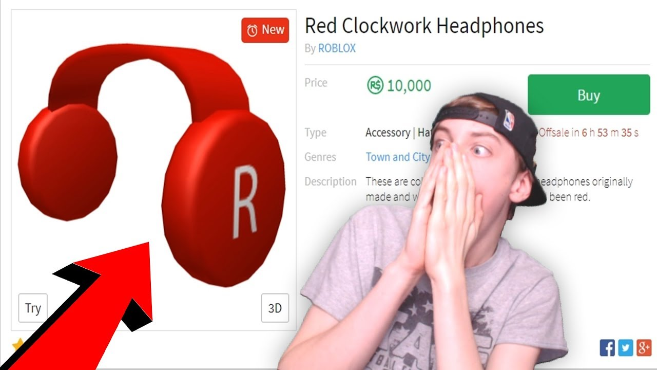 Buying The Red Clockwork Headphones Roblox Youtube