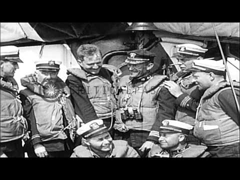 Survivors of German Submarine torpedo attack, from USS President Lincoln, board t...HD Stock Footage
