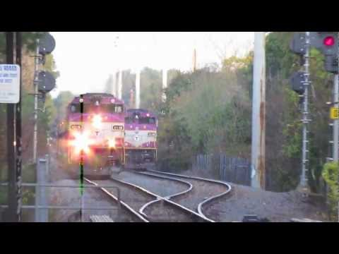 Commuter Rail Trains Meet in Needham MA with GP40mcs.