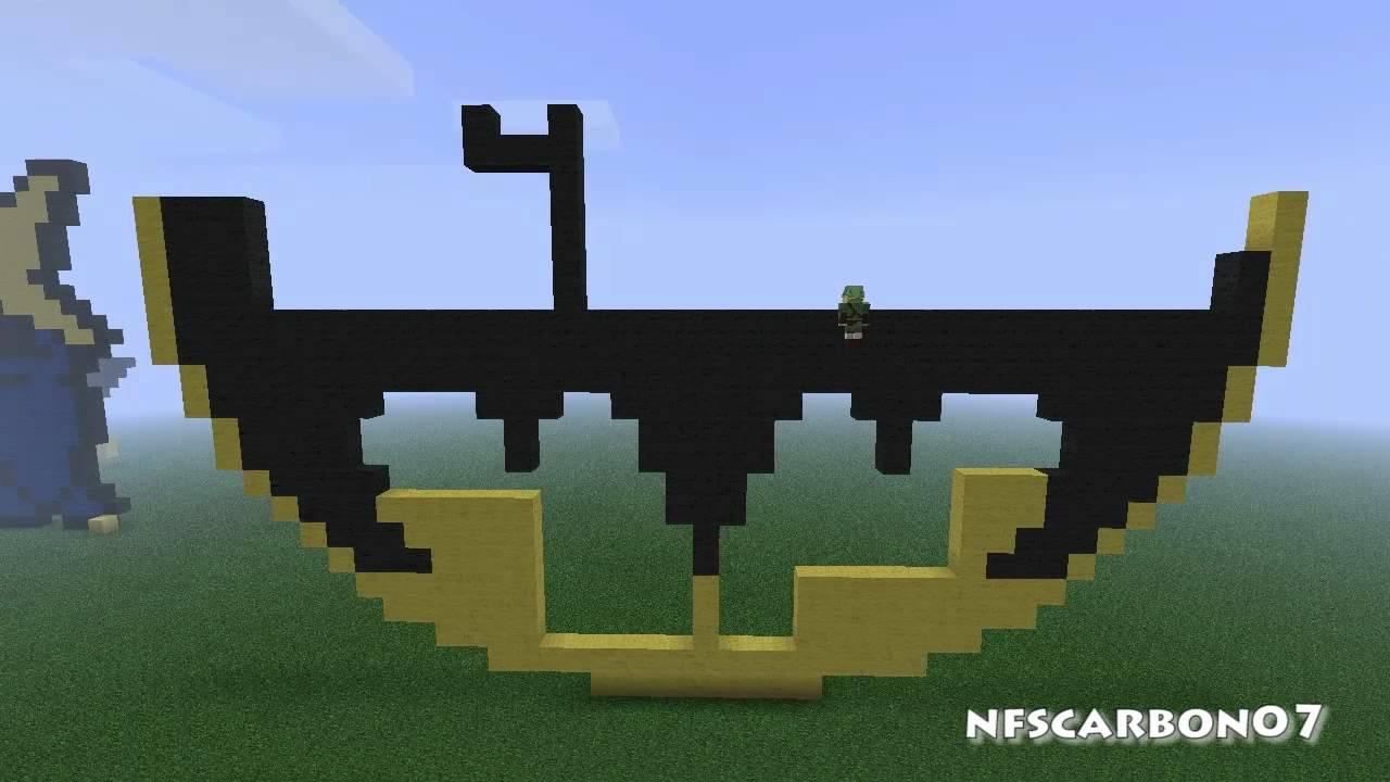 Minecraft Pixel Art Batman Symbol Youtube