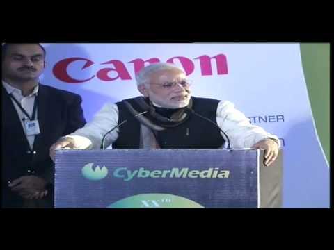 Shri Narendra Modi addressing at the CyberMedia ICT Business Awards 2013 in Delhi