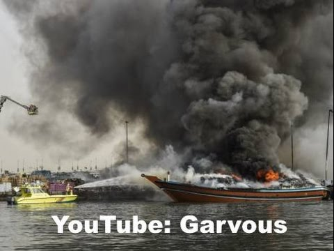 DUBAI BOAT ON FIRE NEAR FLOATING BRIDGE