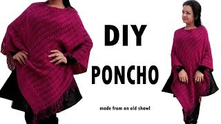 DIY Poncho - How to make a Poncho from an old shawl (Hindi)