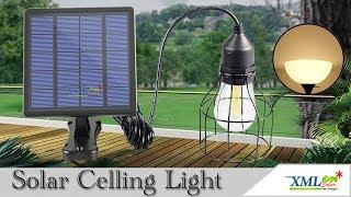 โคมไฟโซล่าเซลล์ ติดเพดาน รุ่นตาข่ายดำ Loft style (แสง : เหลืองวอมไวท์)