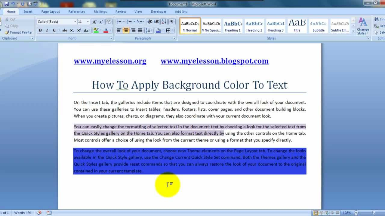 MS Word Apply Background Color To Text English