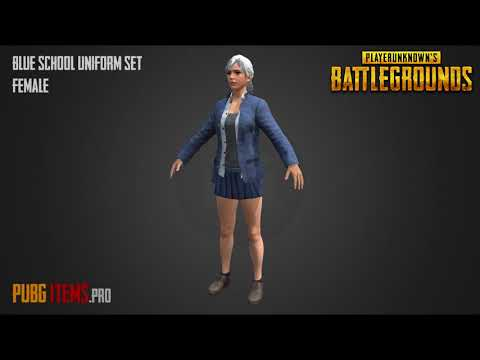 BLUE SCHOOL UNIFORM SET FEMALE PUBG Showcase