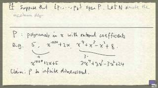 Example of an infinite dimensional vector space