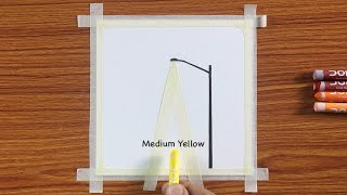 Easy Street Light Sceฑery Drawing / Drawing with Oil Pastels / Step by Step