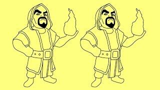 How to draw Clash of Clans Wizard   Cómo dibujar Choque de Clanes Mago
