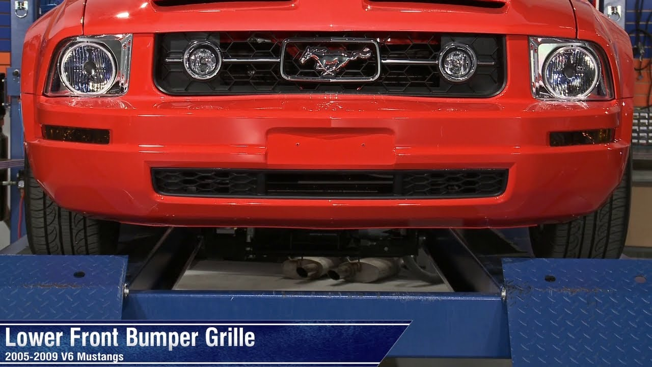 Mustang 2013 Front Bumper >> Mustang Lower Front Bumper Grille (05-09 V6) Review - YouTube