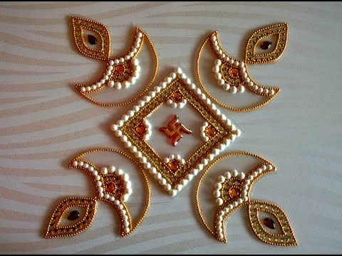 Diy kundan diya rangoli how to make rearrangeable for Home made rangoli designs