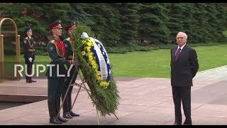 Russia  Temer lays flowers at Tomb of the Unknown Soldier in Moscow
