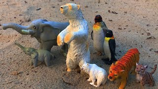 Wild Animals Toys in Sand | Learn Animals Name and Sounds for Kids