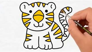 TIGER Drawing And Coloring For KIDS ! ANIMAL Coloring Videos ! KIDS Learn Color