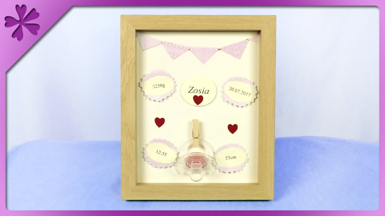 DIY How to make personalized 3D frame, gift for newborn baby (ENG ...