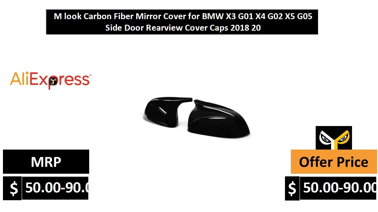For BMW X3 G01 X4 G02 X5 G05 Carbon Fiber Side Mirror Cover Cap Replace Type 18+