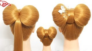 Beautiful Hairstyles for party ⭐ Hair Style For Girls 🎀 Half-up Hair Bow Cute Hair Tutorial