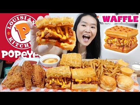POPEYES WAFFLE & FRIED CHICKEN SANDWICHES!! Cheese Cajun Fries, Crispy Chicken | Eating Show Mukbang