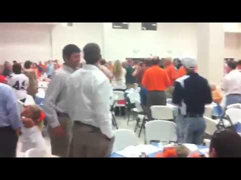 Gene Chizik arrives to Tiger Trek event in Robertsdale, Alabama