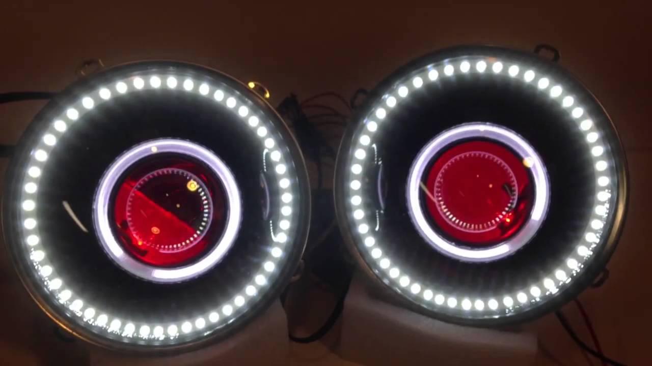 Jeep Halo Headlights >> Jeep Wrangler Headlight Retrofit - Satin Black Angel Eyes ...