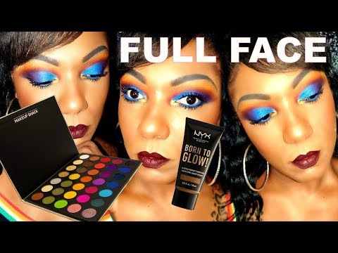 MULTICOLOR EYE LOOK - Makeup Shack Rainforest Palette & NEW NYX Born To Glow Foundation thumbnail