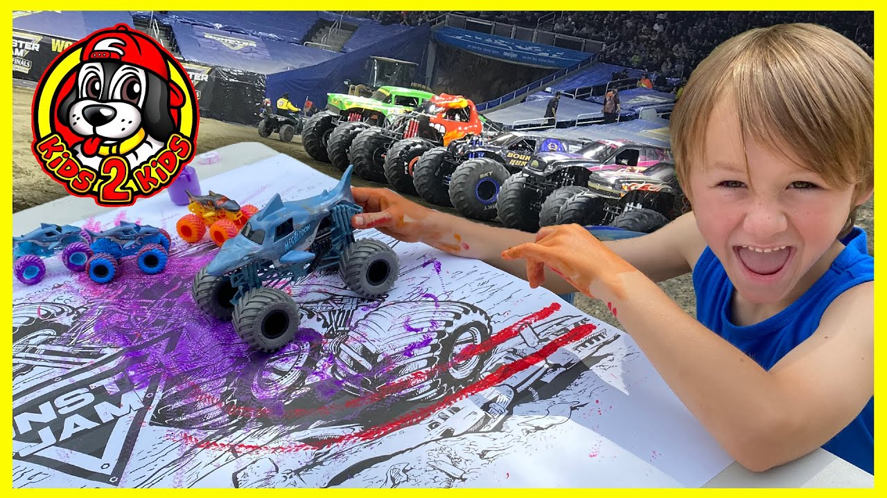 Painting With Monster Jam Toy Trucks At Home Coloring Activity Fire Ice Megalodon Dalmatian Youtube