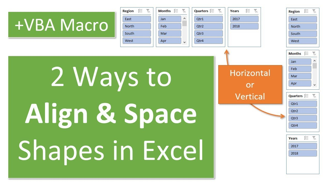 2 Ways to Align & Distribute Shapes in Excel + VBA Macro (Part 1)