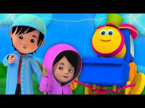 Боб поезд | Я слышу гром | детские рифмы | дождливая песня для детей | Bob Train | I Hear Thunder