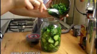 Маринованный салат из огурцов - видео рецепт
