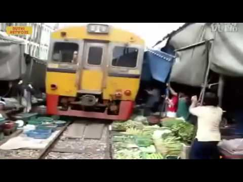 Maeklong Railway Market  World s Most Dangerous Market