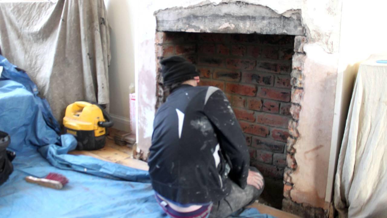 hammer a removing brush fireplace tiled part fireback
