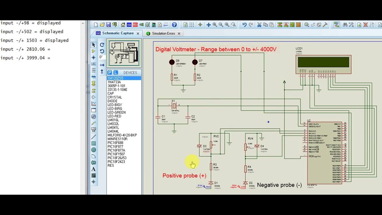digital dc voltmeter using pic 16f877a youtube