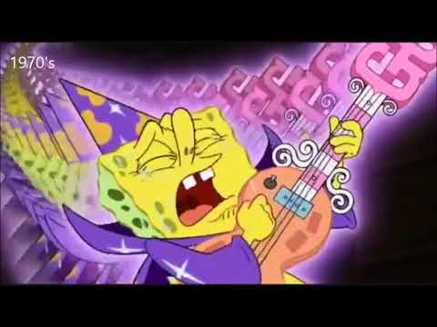 Music styles throughout the decades portrayed by Spongebob