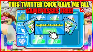 The OWNER of CLICKING TITANS Gave me a TWITTER CODE THAT UNLOCKED ALL GAMEPASSES FOR FREE! - ROBLOX