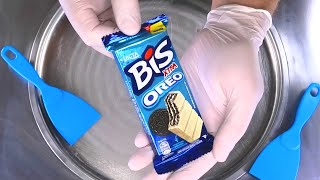 OREO Ice Cream Rolls | how to make rolled fried Ice Cream with Oreo BIS Cookie | satisfying ASMR
