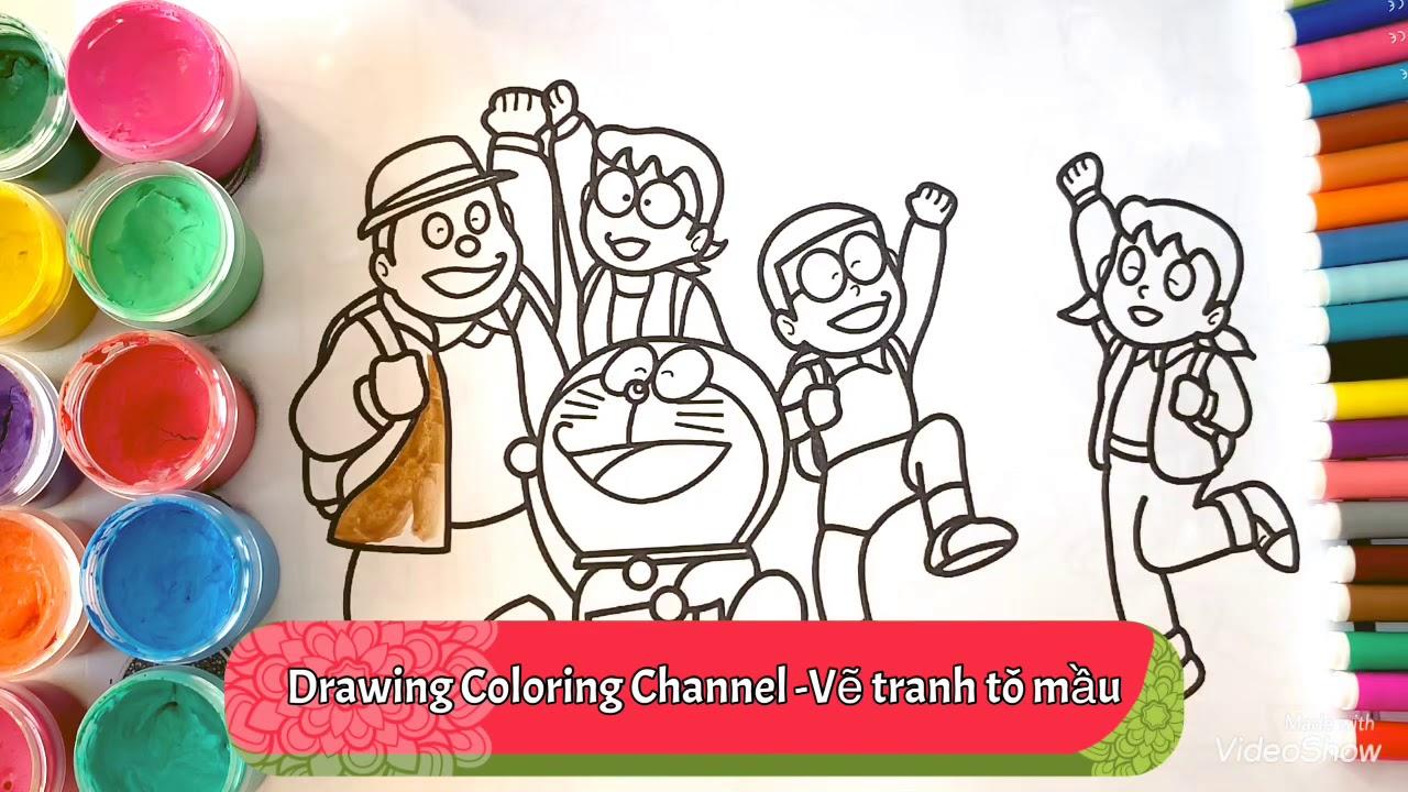 Đồ chơi/Vẽ tranh tô màu Đô-Rê-Mon và Nôbita.Draw Doraemon and Nobita.Раскраска Дораэмон и Нобита.
