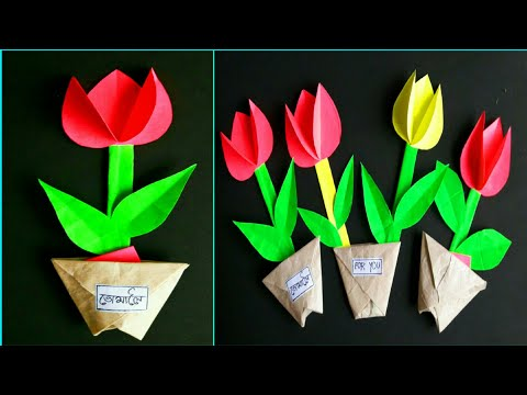 Paper Tulips 🌷🌷🌷 How To  Make Origami Paper Tulips Flower