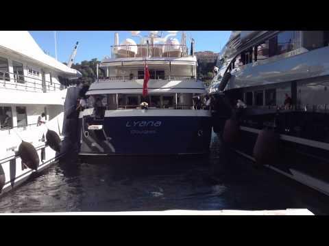 Hard docking Mega Yacht at Monaco Boat Show 2012