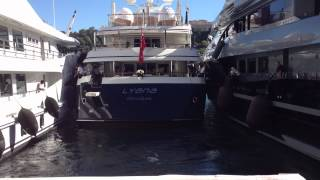 Hard docking Mega Yacht at Monaco Boat Show 2012