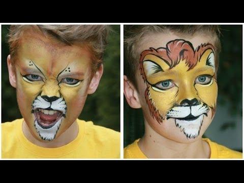 lion face painting tutorial 2 versions lion makeup. Black Bedroom Furniture Sets. Home Design Ideas