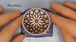 Tecnica Pasta Polimerica: Stencil e Foglia Oro - Polymer Clay Tecnicque: Stencil and Metal Leaf