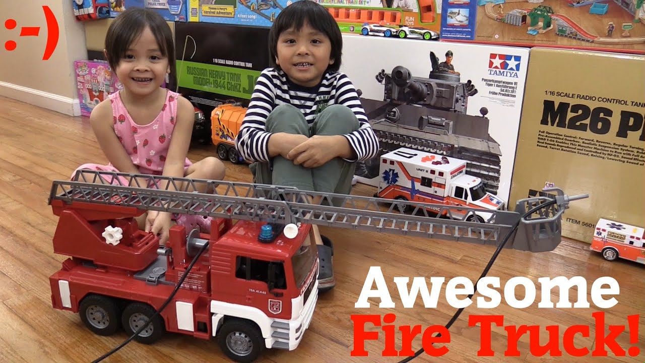 Toy Truck for Kids Bruderu0027s MAN Fire Truck with Real Water Action Hose Unboxing u0026 Playtime - YouTube  sc 1 st  YouTube & Toy Truck for Kids: Bruderu0027s MAN Fire Truck with Real Water Action Hose Unboxing u0026 Playtime