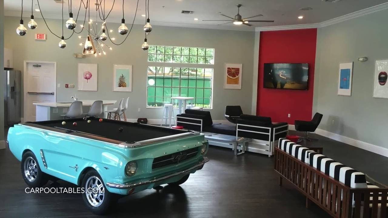 Mustang Car Pool Table Build At Boardwalk Apartments In Tampa YouTube - Mustang pool table